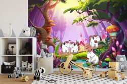 Unicorns in the forest, kid's wall mural - 11881