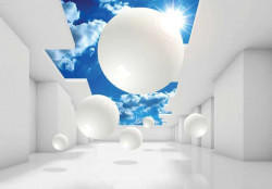 White shapes and blue sky living room wall mural- 11852