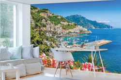 Yacht wharf in the blue sea, relaxing poster - 10384