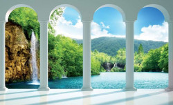 3d wall mural with lake view - 2353