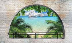 Arched terrace beach view wall paper - 2842