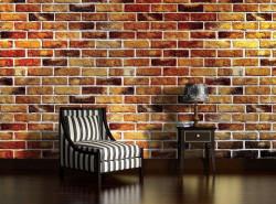 Colorful brick wall imitation mural - 1534