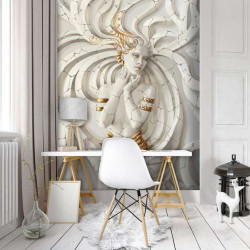 Enchantress statue wall mural with gold elements - 10211A