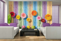 Gerbera flowers in line, art wall image - 3708