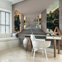 Hallway above waters, green accents mural - 13660