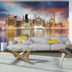Late evening time city skyline mural - 11854