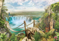 Painted wall mural, waterfalls and nature - 10515