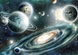 Planets and Milky way galaxy mural - 11896