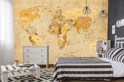 Rustic political map of world wallpaper - C04122