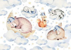 Sleeping in the clouds, animals wallpaper for children's room - 13671