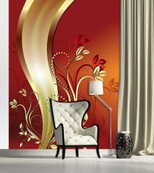 Tender design wall mural - red - 2136A