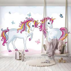 Unicorns, girl's room wall mural - 12550
