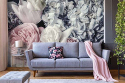 Wallpaper with peonies and rose - 12746