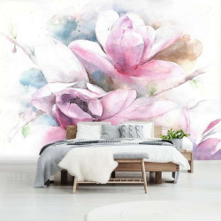 Flowers in a white background, wall mural - 13008
