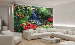 Flowers next to a small waterfall, zen wallpaper - 166