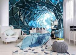 Futuristic glass tunnel wall mural - 12648