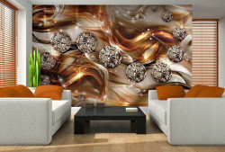 Gold color wallpaper with art shiny elements - 10576