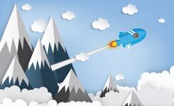Rocket, children's room wall mural - 13608