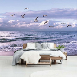 Seagulls on a lonely beach wall paper - 13051