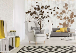 Trees and birds art painted wall mural - 12066