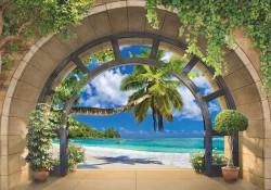 Tropical beach arched wall mural - 11554