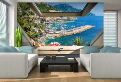 Window view yacht quay, relaxing wall paper - 10389
