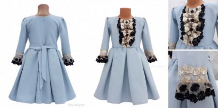 Rochie din stofa bleu, fete 5-12 ani