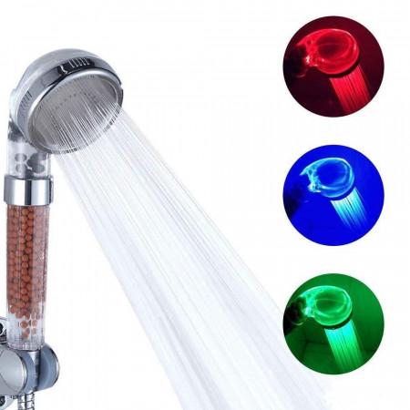 Светеща LED душ слушалка с минерали