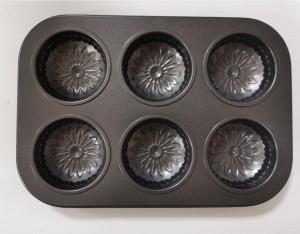 Метална тава за печене на кексчета - 6 бр.