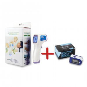 КОМПЛЕКТ Инфрачервен безконтактен термометър + Пулсоксиметър+Дигитален LED апарат за измерване на кръвно