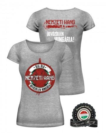Üdvözöllek Hungária póló - szürke (női)