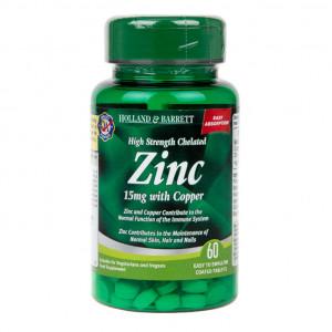 Zinc chelat 15 mg cu Cupru 60 comprimate