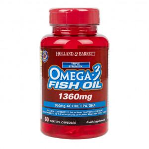 Omega-3 ulei de pește concentrat putere tripla 1360 mg 60 capsule