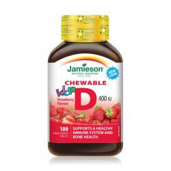 Vitamina D3 400UI kids cu aroma de capsuni,tablete masticabile, Jamieson