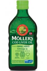 Ulei din ficat de cod Omega 3 Vitamina A-D-E, aroma mere verzi, 250 ml, Mollers