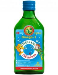Omega 3 ulei ficat de cod cu aroma de tutti-frutti pentru copii 250 ml Mollers