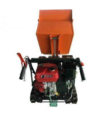 Mini transportor EDH500E cu motor Loncin de 9HP, pornire electrica, senilata + lama zapada, incarcare maxima 500kg.