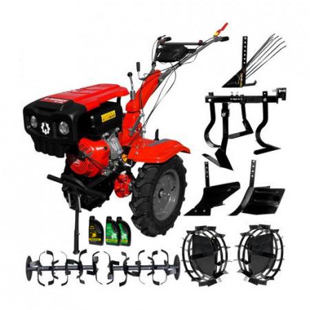 Motocultor Rotakt RO15R, pachet cu roti, rarita, plug arat, plug cartofi, semanatoare
