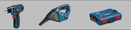 Pachet promo Bosch GSR 12V-15 + GAS 12V  (2x 2,0 Ah) in 1x L-BOXX marime 1