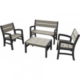 Set mobilier gradina Curver Montero gri-maroniu