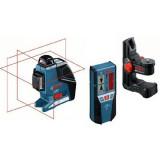 Nivela laser linii Bosch GLL 3-80 P + BM 1 + LR 2