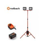 Set Redback stand cu 2 proiectoare LED ED40 2x20W 40V + acumulator Li-Ion EP40 40V/4Ah + incarcator EC20 40V/2A