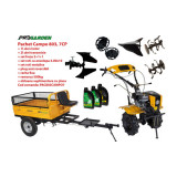 Pachet motocultor Campo 803, benzina, 7CP, 2+1 trepte, 2+1+1 freze, plug bilonat, remorca 500kg, accesorii PR2, ulei motor si transmisie incluse