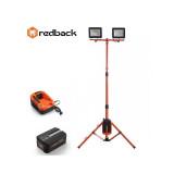 Set Redback stand cu 2 proiectoare LED ED40 2x20W 40V + acumulator Li-Ion EP20 40V/2Ah + incarcator EC20 40V/2A