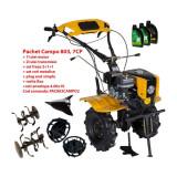 Pachet motocultor Campo 803, benzina, 7CP, 2+1 trepte, 2+1+1 freze, plug bilonat, accesorii, ulei motor si transmisie incluse