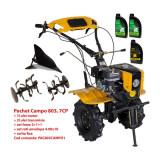 Pachet motocultor Campo 803, benzina, 7CP, 2+1 trepte, 2+1+1 freze, plug bilonat, ulei motor si transmisie incluse