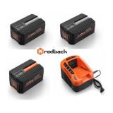 Set Redback powerpack plus 2 acumulatori Li-Ion 1xEP20 40V/2Ah + 1xEP40 40V/4Ah + incarcator rapid EC50 40V/5A