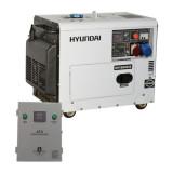 Generator de curent trifazat cu motor diesel HYUNDAI DHY8600SE-T cu ATS