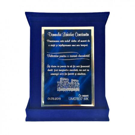 Plachetă Albastra Dreaptă Personalizată în Cutie de Catifea