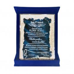 Plachetă Albastra Pergament Personalizată în Cutie de Catifea